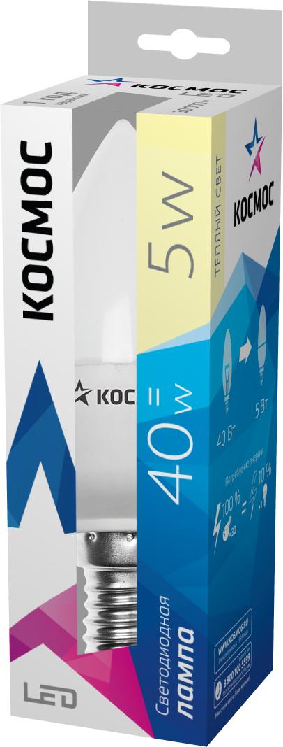 Светодиодная лампа Kosmos, теплый свет, цоколь E14, 5W, 220V, (60W)C0038550Светодиодная энергосберегающая лампа КОСМОС LED CN 5Вт 220В E14 3000K (Lksm LED5wCNE1430) отличается повышенной экономичностью. Практически не выделяет тепло, так как в конструкции предусмотрен керамический теплоотвод. Рекомендуется для установки в торшеры, БРА, светильники. Рабочий ресурс составляет 30 000 часов. Излучает теплый свет и заменяет лампу накаливания в 60W.Уважаемые клиенты! Обращаем ваше внимание на возможные изменения в дизайне упаковки. Качественные характеристики товара остаются неизменными. Поставка осуществляется в зависимости от наличия на складе.