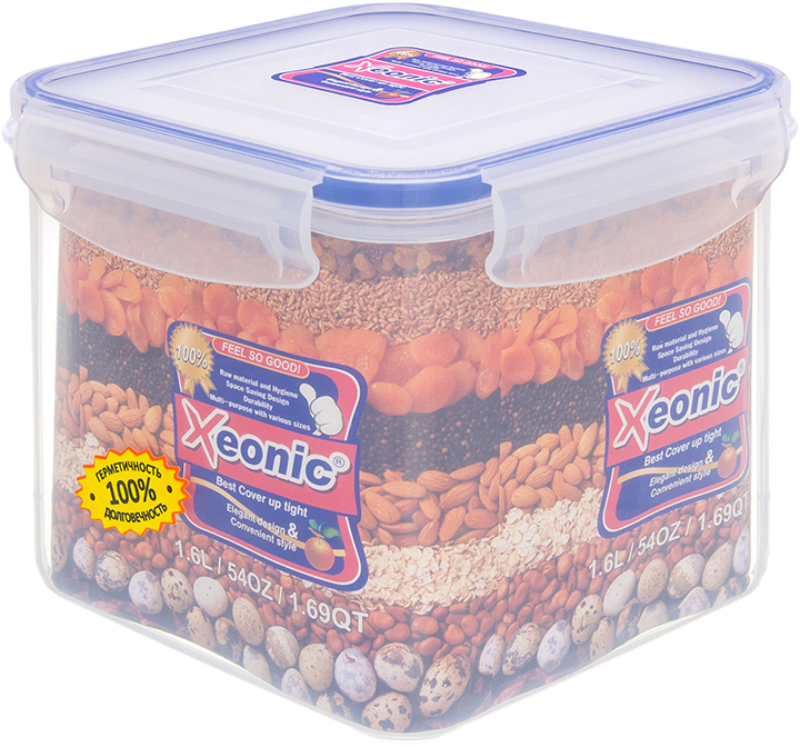 Контейнер Xeonic, цвет: прозрачный, синий, 1,6 л810008Пластиковые герметичные контейнеры для хранения продуктов Xeonic произведены из высококачественных материалов, имеют 100% герметичность, термоустойчивы, могут быть использованы в микроволновой печи и в морозильной камере, устойчивы к воздействию масел и жиров, не впитывают запах. Удобны в использовании, долговечны, легко открываются и закрываются, не занимают много места, можно мыть в посудомоечной машине. Размер: 12 см х 12 см х 12 см.