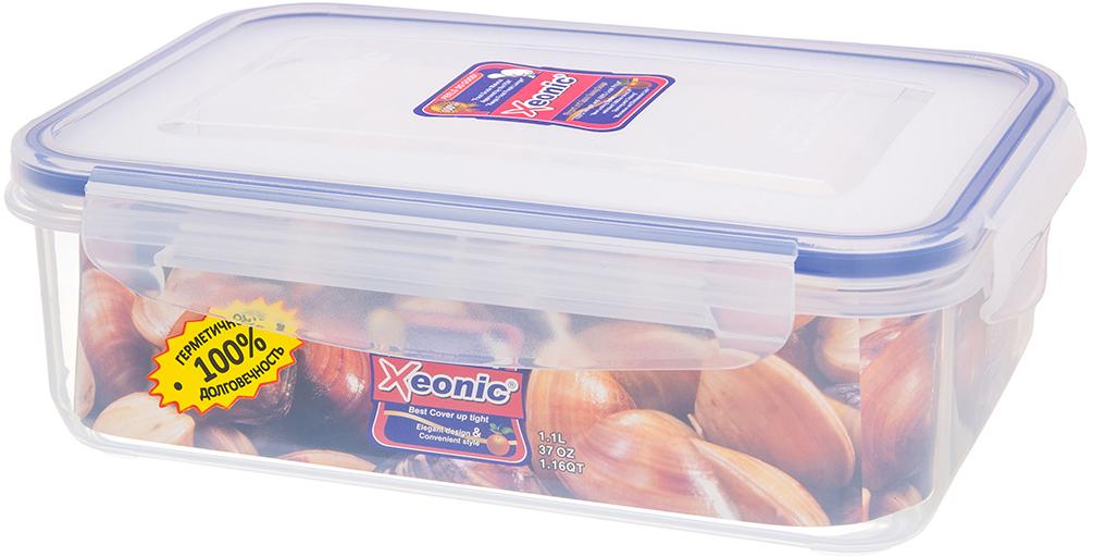 Контейнер Xeonic, цвет: прозрачный, синий, 1,1 л. 810013810012Пластиковые герметичные контейнеры для хранения продуктов Xeonic произведены из высококачественных материалов, имеют 100% герметичность, термоустойчивы, могут быть использованы в микроволновой печи и в морозильной камере, устойчивы к воздействию масел и жиров, не впитывают запах. Удобны в использовании, долговечны, легко открываются и закрываются, не занимают много места, можно мыть в посудомоечной машине. Размер: 18 см х 12 см х 6 см.