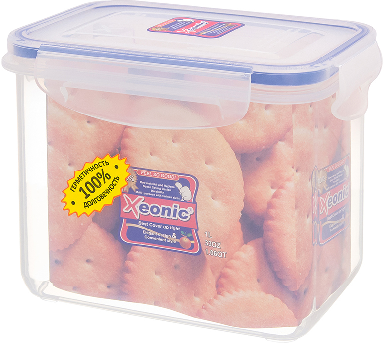 Контейнер Xeonic, цвет: прозрачный, синий, 1 л. 810015810015Пластиковые герметичные контейнеры для хранения продуктов Xeonic произведены из высококачественных материалов, имеют 100% герметичность, термоустойчивы, могут быть использованы в микроволновой печи и в морозильной камере, устойчивы к воздействию масел и жиров, не впитывают запах. Удобны в использовании, долговечны, легко открываются и закрываются, не занимают много места, можно мыть в посудомоечной машине. Размер: 12,5 см х 9 см х 11 см.