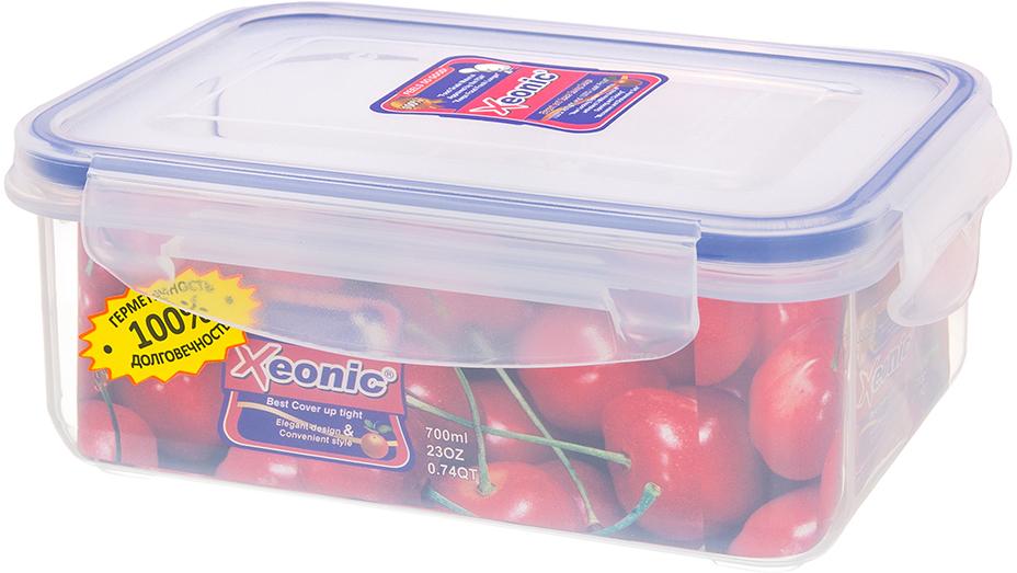Контейнер Xeonic, цвет: прозрачный, синий, 700 мл810020Пластиковые герметичные контейнеры для хранения продуктов Xeonic произведены из высококачественных материалов, имеют 100% герметичность, термоустойчивы, могут быть использованы в микроволновой печи и в морозильной камере, устойчивы к воздействию масел и жиров, не впитывают запах. Удобны в использовании, долговечны, легко открываются и закрываются, не занимают много места, можно мыть в посудомоечной машине. Размер: 14 см х 10 см х 6 см.
