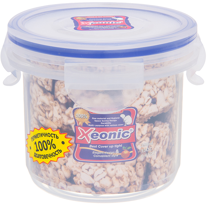 Контейнер Xeonic, цвет: прозрачный, синий, 390 млVT-1520(SR)Круглый контейнер Xeonic изготовлен из высококачественного полипропилена и предназначен для хранения любых пищевых продуктов. Крышка с силиконовой вставкой герметично защелкивается специальным механизмом. Изделие устойчиво к воздействию масел и жиров, не впитывает запахи.Контейнер Xeonic удобен для ежедневного использования в быту.Можно мыть в посудомоечной машине и использовать в СВЧ.Диаметр контейнера (по верхнему краю): 9,5 см.Высота контейнера (без учета крышки): 8,5 см.