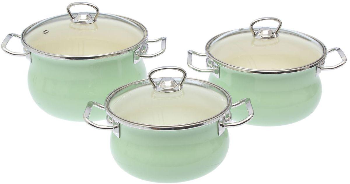Набор кастрюль Epos Мятная прохлада, с крышками, 6 предметов2293436Эмалированная посудая пригодится вам для быстрого приготовления разных типов блюд. Такая посуда подходит для домашнего и профессионального использования.Достоинства:посуда быстро и равномерно нагревается;корпус стоек к ржавчине;изделие легко отмывается в посудомоечной машине.Благодаря приятным цветам кастрюля удачно впишется в любой дизайн интерьера. Наилучшее качество покрытия достигается за счёт того, что посуда проходит обжиг при температуре до 800 градусов.Чтобы предмет сохранял наилучшие эксплуатационные свойства, соблюдайте правила ухода:избегайте ударов и падений;не пользуйтесь высокоабразивными чистящими средствами;не допускайте резких перепадов температуры.Посуда подходит для долговременного хранения пищи.
