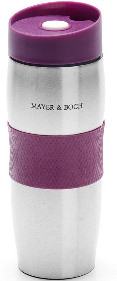 Термокружка Mayer&Boch, цвет: фиолетовый, 380 мл. 26631-226631-2Термокружка «MAYER & BOCH» изготовлена из нержавеющей стали, не содержащей токсичных веществ. Двойные стенки дольше сохраняют напиток горячим и не обжигают руки. Надежная крышка с защитой от проливания обеспечит дополнительную безопасность. Крышка оснащена клапаном для питья. Основание имеет силикованную вставку для предотвращения скольжения по поверхности. Оптимальный объем термокружки позволит взять с собой большую порцию горячего кофе или чая. Идеально подходит как для горячих, так и для холодных напитков. Такая кружка может быть использована во время отдыха, на работе, в путешествии, во время поездок в автомобиле.