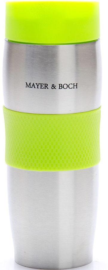 Термокружка Mayer&Boch, цвет: зеленый, 380 мл. 26631VT-1520(SR)Термокружка «MAYER & BOCH» изготовлена из нержавеющей стали, не содержащей токсичных веществ. Двойные стенки дольше сохраняют напиток горячим и не обжигают руки. Надежная крышка с защитой от проливания обеспечит дополнительную безопасность. Крышка оснащена клапаном для питья. Основание имеет силикованную вставку для предотвращения скольжения по поверхности. Оптимальный объем термокружки позволит взять с собой большую порцию горячего кофе или чая. Идеально подходит как для горячих, так и для холодных напитков. Такая кружка может быть использована во время отдыха, на работе, в путешествии, во время поездок в автомобиле.
