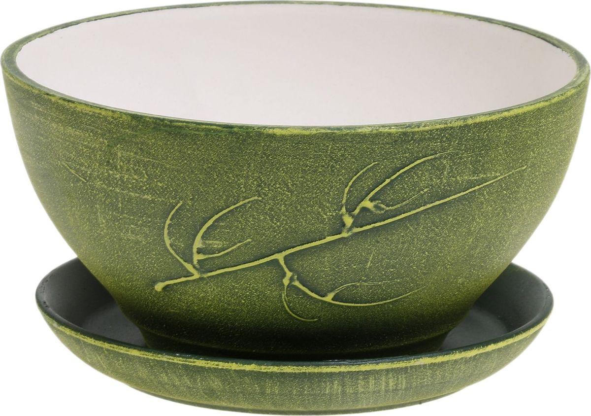 Кашпо Керамика ручной работы Фиалка. Патина, цвет: зеленый, 1 л531-105Кашпо Керамика ручной работы Фиалка. Патина выполнен из керамики в оригинальном дизайне, это прекрасный способ подчеркнуть красоту и уникальность любого растения. Такое кашпо прекрасно подойдет для выращивания в нем трав и цветов.