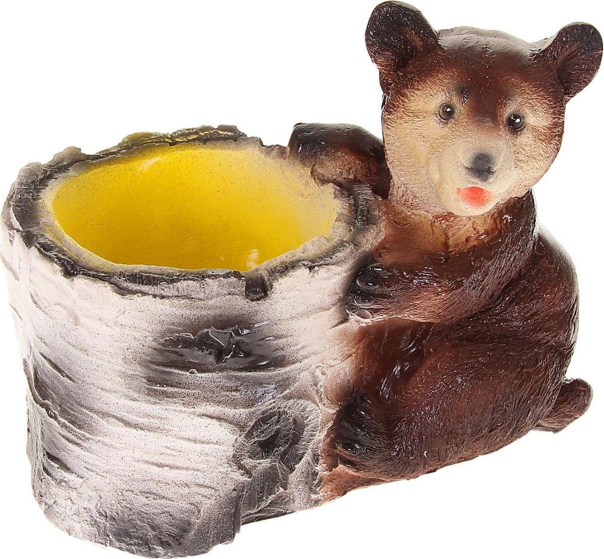 Кашпо Медведь с пеньком, 12 х 15 х 17 см1065386