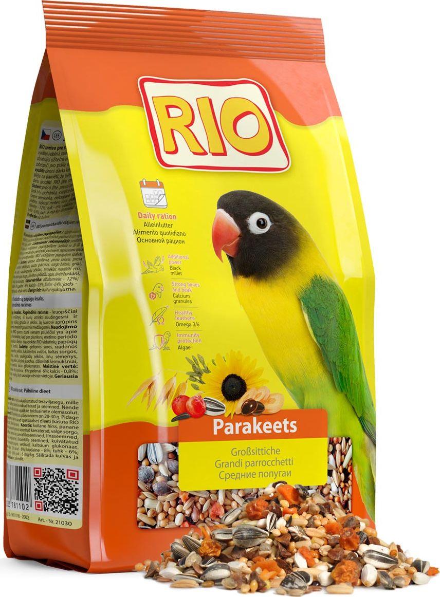 Корм для средних попугаев Rio Основной рацион, 1 кг веселый попугай отборное зерно для средних попугаев 450 г