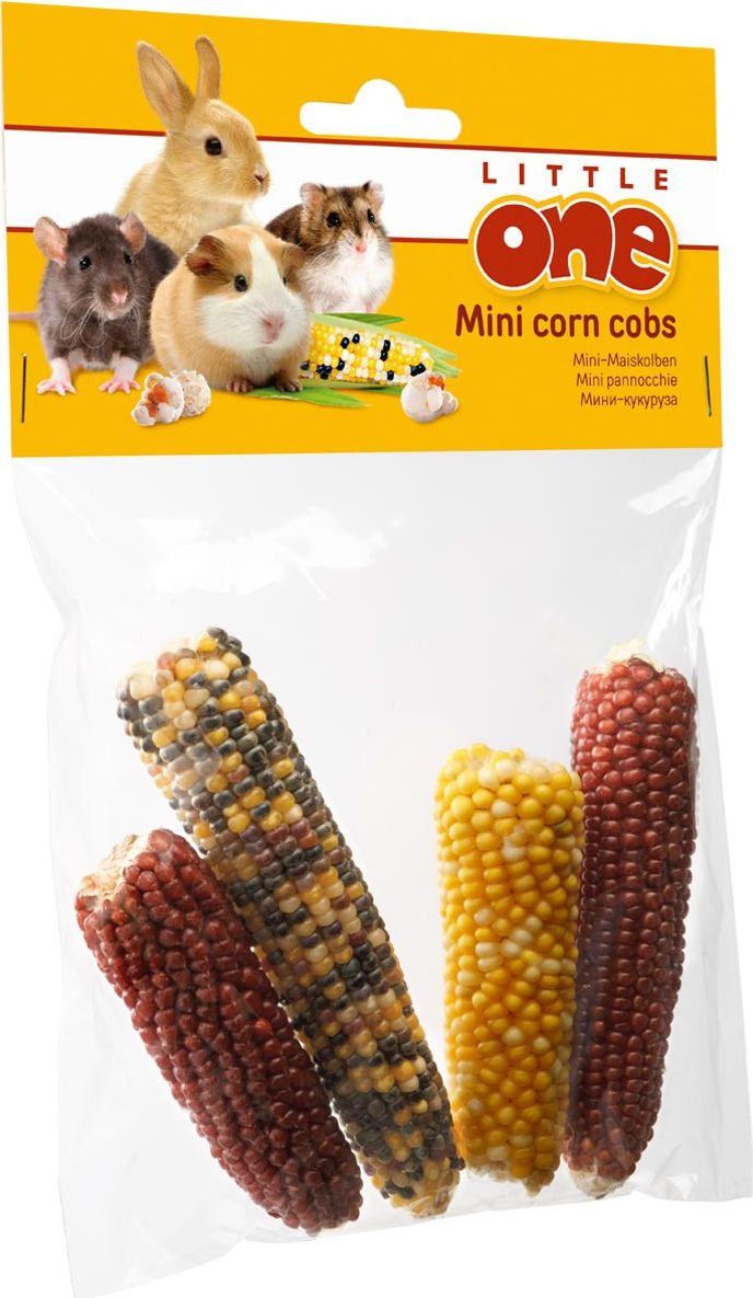 Лакомство для грызунов Little One Мини-кукуруза, 130 г52958Лакомство для грызунов Little One Мини-кукуруза является вкусной игрушкой и прекрасным дополнением к основному корму вашего питомца. Ее можно скармливать как в виде початков, так и в виде попкорна, приготовленного в микроволновой печи. Лакомство подходит для кроликов, морских свинок, шиншилл, крыс, хомячков и дегу. Рекомендации по применению: для приготовления попкорна поместите початки в пригодную для микроволновой печи закрытую посуду и поставьте в печь примерно на 2-3 минуты на максимальной мощности. Не оставляйте печь без присмотра. Давайте попкорн своему питомцу только остывшим! Товар сертифицирован.