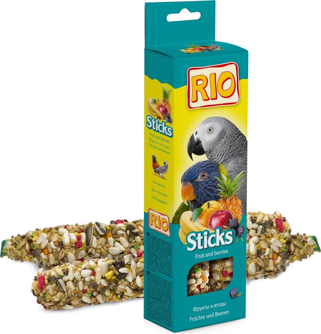Лакомство для попугаев RIO, палочки, с фруктами и ягодами, 75 г, 2 шт лакомство для средних попугаев веселый попугай две палочки с фруктами и ягодами 35 г 2 шт