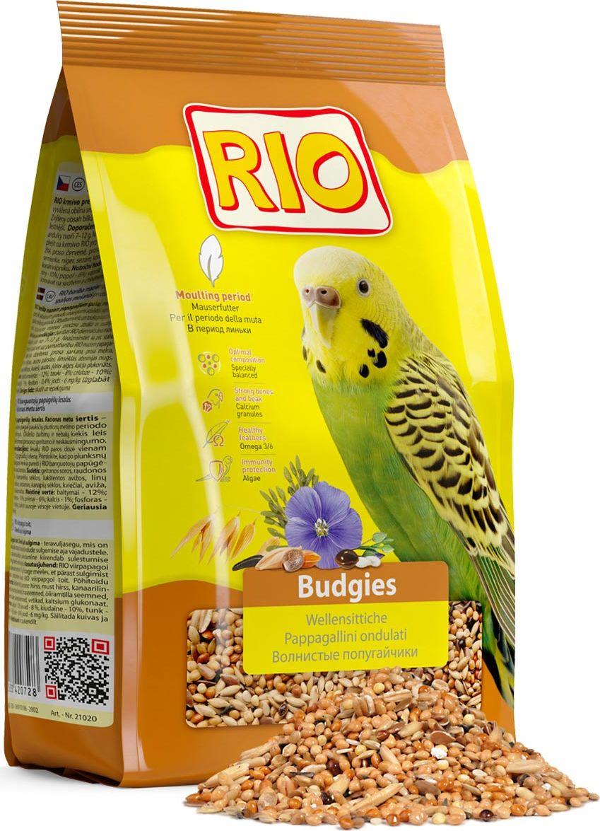 Корм для волнистых попугайчиков Rio, в период линьки, 1 кг0120710Корм Rio - рацион c повышенным содержанием белков и жиров для быстрого и безболезненного восстановления оперения волнистыми попугайчиками. Содержит семена кунжута, богатые кальцием и витаминами. Товар сертифицирован.