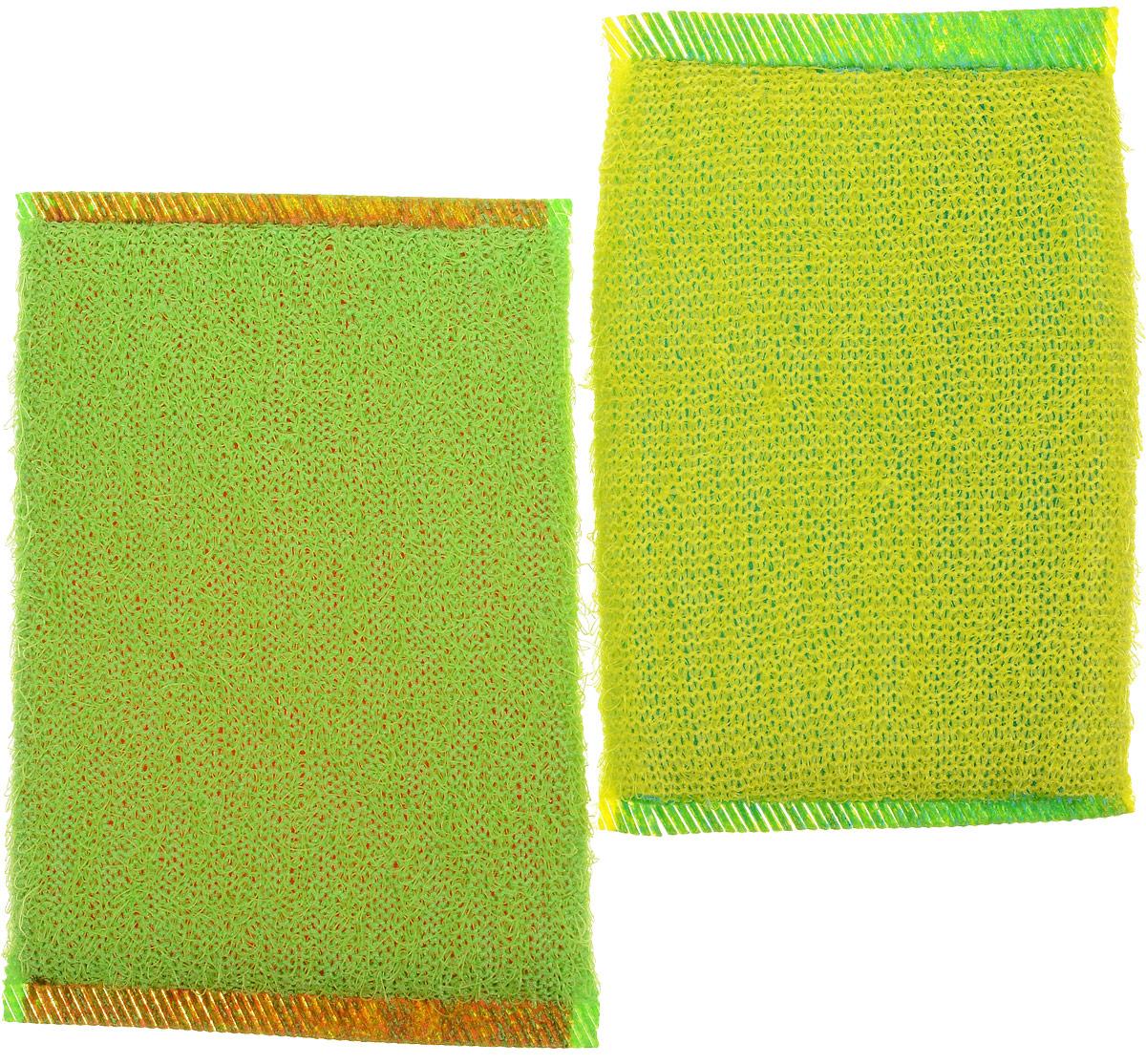 Губка для мытья посуды Хозяюшка Мила Кактус, цвет: желтый, зеленый, 2 шт531-105Набор Хозяюшка Мила Кактус состоит из 2 губок, изготовленных из поролона. Они предназначены для интенсивной чистки и удаления сильных загрязнений с посуды (противни, решетки-гриль, кастрюли).Не рекомендуется использовать для посуды с антипригарным покрытием. Губки сохраняют чистоту и свежесть даже после многократного применения, а их эргономичная форма удобна для руки.Размер губки: 12 см х 2 см х 8 см.
