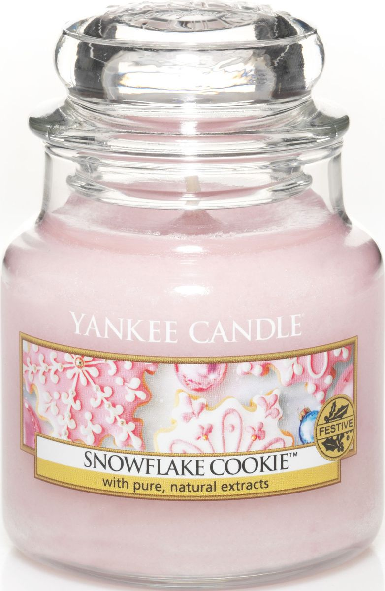 Ароматическая свеча Yankee Candle Печенье с глазурью / Snowflake cookie, 25-45 ч25051 7_зеленыйИдеально красивое праздничное печенье, восхитительно украшенное сладкой розовой глазурью.Верхняя нота: Мягкий Зефир, Взбитая Ванильная ГлазурьСредняя нота: Теплая Корица, Мускатный ОрехБазовая нота: Сладкий Сливочный Крем, Сахар, Печенье