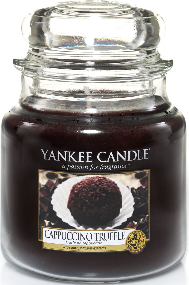 Ароматическая свеча Yankee Candle Капуччино трюфель / Capuccino Truffle, 65-90 чRG-D31SЖареный кофе с сочными, бархатистым шоколадом.Верхняя нота: Капуччино.Средняя нота: Молочный шоколад, Ванильный Крем.Базовая нота: Сахар.