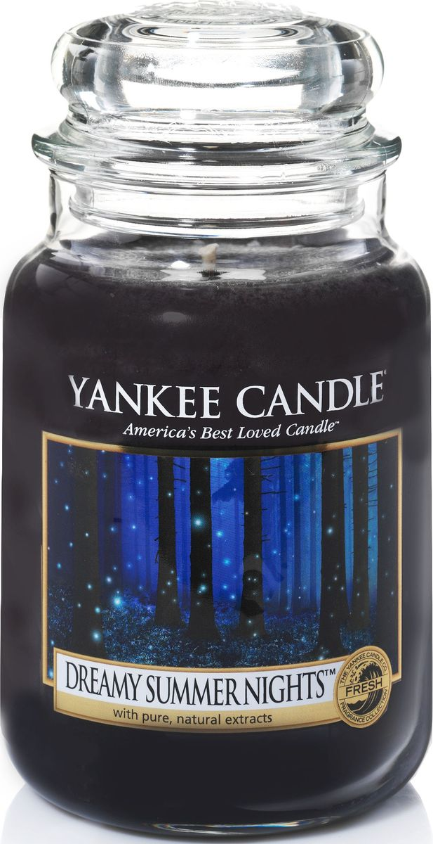 Ароматическая свеча Yankee Candle Сказочные летние ночи / Dreamy Summer Night, 110-150 ч1352140EАроматическая свеча Yankee Candle не только окутает вас волшебным ароматом, но еще и прекрасно впишется в интерьер. Использовать изделие можно как в доме, так и на веранде или в саду. Свеча в стеклянной банке с крышкой выполнена из высокоочищенного парафина с добавлением натуральных эфирных масел. Стекло делает горение свечи безопасным.Описание ароматической композиции: расслабляющая смесь ванили и гелиотропа и щепотка лесной свежести передают тонкую магию теплой летней ночи.Верхние ноты: Ванильный сахар, Апельсин.Средние ноты: Гелиотроп, Ванильная орхидея.Базовые ноты: Ванильный боб, Амбра, Кедр.