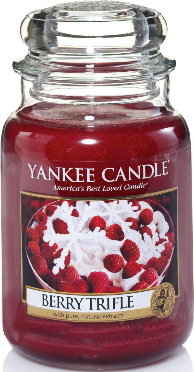 Ароматическая свеча Yankee Candle Ягодный десерт / Berry Trifle, 110-150 ч1342525ЕАроматическая свеча Yankee Candle не только окутает вас волшебным ароматом, но еще и прекрасно впишется в интерьер. Использовать изделие можно как в доме, так и на веранде или в саду. Свеча в стеклянной банке с крышкой выполнена из высокоочищенного парафина с добавлением натуральных эфирных масел. Стекло делает горение свечи безопасным.Описание ароматической композиции: аромат ягодного десерта с базовыми нотками малины, вишни и клубники со сливками.Верхняя нота: Малина, Лимон.Средняя нота: Клубника, Черника.Базовая нота: Ваниль, Сливки, Сахар.