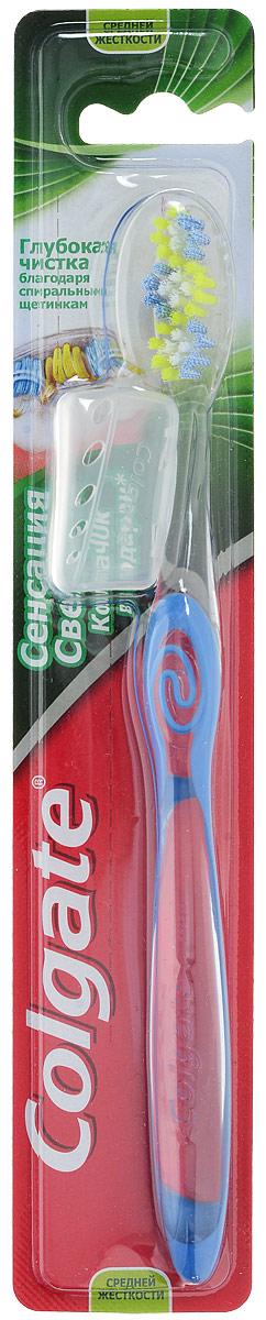 Colgate Зубная щетка Сенсация Свежести, средней жесткости, цвет синийORL-81569571_голубойУникально расположенные щетинки чистят между зубов вдоль линии десен. Волнистая подстрижка щетины повторяет форму зубов для эффективной чистки. Имеется подушечка для чистки языка. В набор входит колпачок для зубной щетки.Товар сертифицирован.