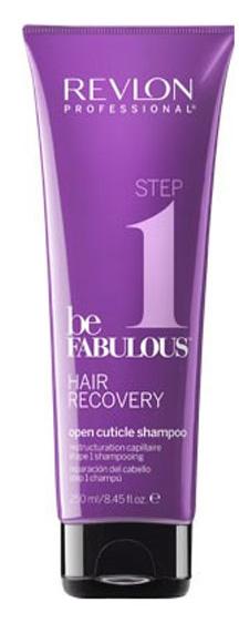Revlon Professional Be Fabulous Hair Recovery Open Cuticle Shampoo Step 1 Шаг 1. Шампунь, открывающий кутикулу, 250 мл7222463000Профессиональный шампунь для ежедневного ухода и восстановления волос испанского бренда Revlon Professional. Предназначен для мягкого глубокого очищения в качестве подготовки к последующему уходу. Представляет собой 1-й этап программы восстановления волос. Шампунь специально разработан для сухих и сильно поврежденных волос. Содержит креатин, кератин, белки и бетаин.Применение: нанести небольшой объем очищающего шампуня, открывающего кутикулу, Revlon, вспенить, тщательно промыть теплой водой. Для достижения эффекта восстановленных здоровых волос рекомендуется дополнительное использование маски с кератином, шампуня, запечатывающего кутикулу, и кондиционера серии Be Fabulous Revlon.Объем: 250 мл