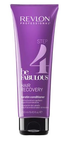 Revlon Professional Be Fabulous Hair Recovery Keratin Conditioner Step 4 Шаг 4. Кондиционер с кератином, 250 мл7222467000Профессиональная кондиционер с кератином для восстановления волос испанского бренда Revlon Professional. Глубоко питает и увлажняет волосы, придает гладкость и шелковистость по всей длине. Представляет собой завершающий этап программы восстановления волос. Кондиционер специально разработан для сухих и сильно поврежденных волос и предназначен для комплексного использования с очищающим и запечатывающим шампунем, а также маской с кератином. Содержит креатин, кератин, белки и бетаин. Применение: нанести кондиционер с кератином Revlon по всей длине вымытых влажных волос, оставить на 1-2 минуты, тщательно промыть теплой водой. Для достижения эффекта восстановленных здоровых волос рекомендуется дополнительное использование очищающего открывающего и запечатывающего кутикулу шампуней и кондиционера серии Be Fabulous Revlon.Объем: 250 мл