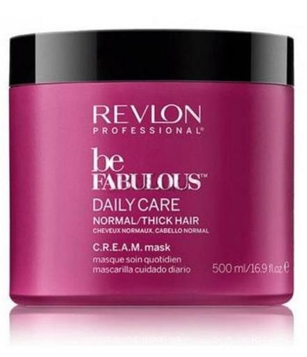 Revlon Professional Be Fabulous C.R.E.A.M. Mask For Normal Thick Hair Маска для нормальных/густых волос, 500 мл7222469000Универсальная питающая маска для нормальных или густых волос испанского бренда Revlon Professioanal. Предназначена для питающего ухода, обладает мультиухаживающим эффектом: обеспечивает сохранение цвета, восстановление, блеск, антивозрастной эффект и увлажнение. Не утяжеляет и не склеивает волосы. Облегчает процесс расчесывания и укладки.Применение: нанести маску для нормальных и густых волос Revlon по всей длине волос, оставить на 3-5 минут, тщательно промыть теплой водой. Для достижения эффекта профессионально ухоженных сияющих волос рекомендуется дополнительное использование очищающего шампуня и кондиционера для нормальных или густых волос серии Be Fabulous Cream Revlon.Объем: 500 мл