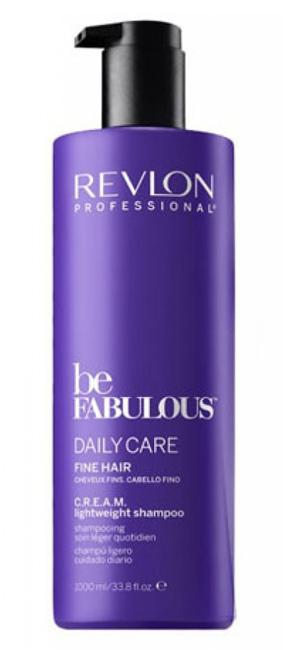 Revlon Professional Be Fabulous C.R.E.A.M. Shampoo For Fine Hair Очищающий шампунь для тонких волос, 1000 мл7222475000Профессиональный шампунь для ежедневного очищения тонких волос испанского бренда Revlon Professional. Содержит QUATERNIUM-22, кератин, пантенол, витамин Е и бетаин. Предназначен для ежедневного мягкого очищения волос, обладает мультиухаживающим эффектом: обеспечивает сохранение цвета (за счет комплекса УФ-фильтров), восстановление (кератин в составе), блеск без утяжеления (благодаря пантенолу), антивозрастной эффект (витамин Е) и увлажнение (бетаин). Имеет приятное сочетание ароматов бергамота, мускуса, фрезии.Применение: нанести небольшой объем очищающего шампуня для тонких волос Revlon, вспенить, тщательно промыть теплой водой. Для достижения эффекта профессионально ухоженных сияющих волос рекомендуется дополнительное использование кондиционера и маски для тонких волос серии Be Fabulous Cream Revlon.Объем: 1000 мл