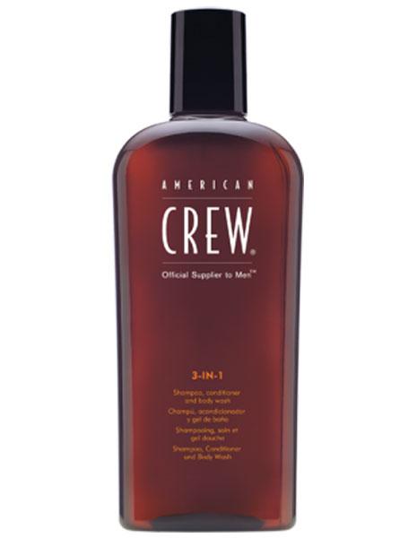 American Crew Classic 3-in-1 Shampoo, Conditioner and Body Wash Средство 3 в 1 Шампунь, Кондиционер и Гель для душа, 100 млFS-00897Удобное средство, объединяющее шампунь, кондиционер и гель для тела. Он сочетает в себе универсальность, полезные ингредиенты и классический аромат American Crew. С его помощью можно избавиться от излишков жира и грязи как на голове, так и на теле. Нежно очищая, он тонизирует кожу головы, увлажняет волосы. Волосы меньше путаются.Объем: 100 мл