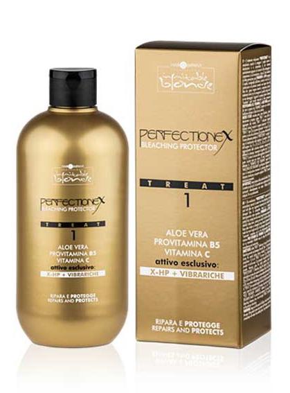 """Hair Company Professional Inimitable Blonde Perflectionex Bleaching Protector Treat 1 Фаза 1, защита и восстановление при обесцвечивании, 500 мл15032030Система perfectionex - это революционное средство, которое защищает и восстанавливает волосы после особо агрессивных технических процедур.Состоит из двух средств:- при добавлении к обесцвечивающему средству """"treat 1"""" обеспечивается защита волос благодаря двум эксклюзивным активным веществам последнего поколения:- vibrariche и x-hp, которые обволакивают волос изнутри, защищают его и восстанавливают внутренние связи волосяного волокна.- при использовании """"treat 2"""" непосредственно после обесцвечивания обеспечивается глубокое восстановление волос также благодаря высокоэффективному витаминному концентрату.Поддержание эффекта в домашних условиях дополнительными средствами этой гаммы:- шампунь и маска специально после обработки позволяют дольше сохранить эффект и предупреждают возможные дефекты в будущем (благодаря некоторым активным веществам, которые уже содержатся в """"treat 1"""" и в """"treat 2"""".Способ применения фазы 1:- смешайте обесцвечивающее средство и окисляющую эмульсию традиционным способом.- встряхните """"treat 1"""" перед применением.- добавьте к смеси """"treat 1"""" при помощи специального дозатора в следующих пропорциях:- 8 мл """"treat 1"""" на каждые 30 г обесцвечивающего порошка.- 4 мл на каждые 15 г порошка при использовании менее 30 г порошка.Внимание при обесцвечивании по длине волос увеличить процент окисляющей эмульсии следующим образом:- с 3% до 6 % .- с 6% до 9 %.- с 9% до 12 %.- по достижении желаемого осветления, смойте средство с волос, без использования шампуня.- при тонировании, по завершении осветления, вымойте волосы шампунем.- протонируйте.- смойте и нанесите """"treat 2"""".Объем: 500 мл"""