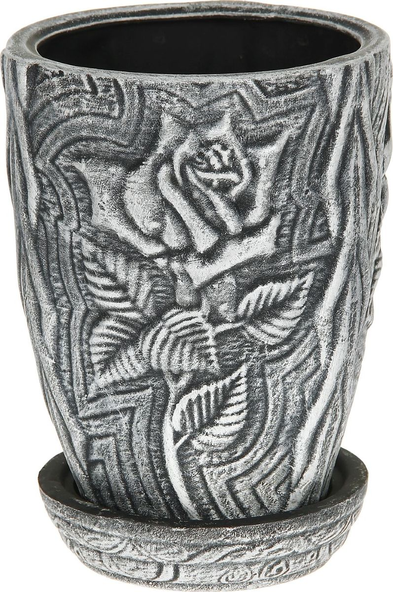 Кашпо Керамика ручной работы Роза, цвет: черный, белый, 5 л1114304Комнатные растения — всеобщие любимцы. Они радуют глаз, насыщают помещение кислородом и украшают пространство. Каждому из них необходим свой удобный и красивый дом. Кашпо из керамики прекрасно подходят для высадки растений: за счёт пластичности глины и разных способов обработки существует великое множество форм и дизайновпористый материал позволяет испаряться лишней влагевоздух, необходимый для дыхания корней, проникает сквозь керамические стенки! #name# позаботится о зелёном питомце, освежит интерьер и подчеркнёт его стиль.