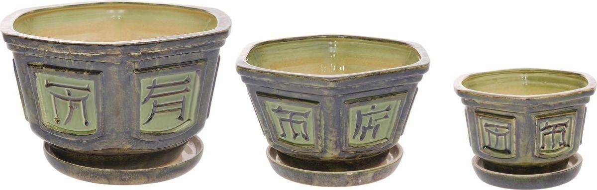 Набор кашпо Иероглифы, цвет: зеленый, 3 предмета531-105Набор кашпо 3 шт. Бансайка зеленый: 6л, 2,3л, 1л 1128715