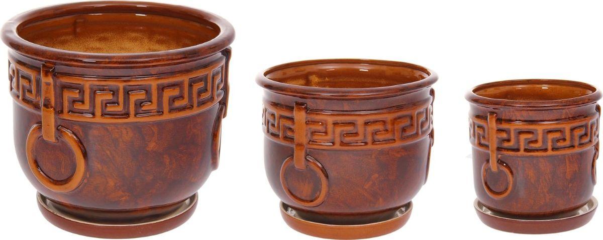 Набор кашпо Олимп, цвет: коричневый, 3 предмета531-105Набор кашпо 3 шт. Олимп коричневый: 14л, 505л, 2,5л 1128738