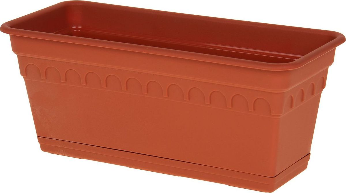 Ящик для цветов Martika Колывань, балконный, цвет: терракотовый, 40 х 17 х 17 смGC220/05Любой, даже самый современный и продуманный интерьер будет не завершённым без растений. Они не только очищают воздух и насыщают его кислородом, но и заметно украшают окружающее пространство. Такому полезному члену семьи просто необходимо красивое и функциональное кашпо, оригинальный горшок или необычная ваза! Мы предлагаем - Ящик для растений балконный Колывань 40 см с поддоном, цвет терракотовый! Оптимальный выбор материала пластмасса! Почему мы так считаем? Малый вес. С лёгкостью переносите горшки и кашпо с места на место, ставьте их на столики или полки, подвешивайте под потолок, не беспокоясь о нагрузке. Простота ухода. Пластиковые изделия не нуждаются в специальных условиях хранения. Их легко чистить достаточно просто сполоснуть тёплой водой. Никаких царапин. Пластиковые кашпо не царапают и не загрязняют поверхности, на которых стоят. Пластик дольше хранит влагу, а значит растение реже нуждается в поливе. Пластмасса не пропускает воздух корневой системе растения не грозят резкие перепады температур. Огромный выбор форм, декора и расцветок вы без труда подберёте что-то, что идеально впишется в уже существующий интерьер. Соблюдая нехитрые правила ухода, вы можете заметно продлить срок службы горшков, вазонов и кашпо из пластика: всегда учитывайте размер кроны и корневой системы растения (при разрастании большое растение способно повредить маленький горшок)берегите изделие от воздействия прямых солнечных лучей, чтобы кашпо и горшки не выцветалидержите кашпо и горшки из пластика подальше от нагревающихся поверхностей. Создавайте прекрасные цветочные композиции, выращивайте рассаду или необычные растения, а низкие цены позволят вам не ограничивать себя в выборе.