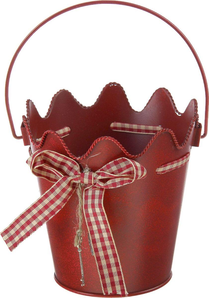 Кашпо Бант, цвет: красный, 1 л1063912Комнатные растения — всеобщие любимцы. Они радуют глаз, насыщают помещение кислородом и украшают пространство. Каждому из растений необходим свой удобный и красивый дом. Металлические декоративные вазы для горшков практичны и долговечны. #name# позаботится о зелёном питомце, освежит интерьер и подчеркнёт его стиль. Особенно выигрышно они смотрятся в экстерьере: на террасах и в беседках. При желании его всегда можно перекрасить в другой цвет.