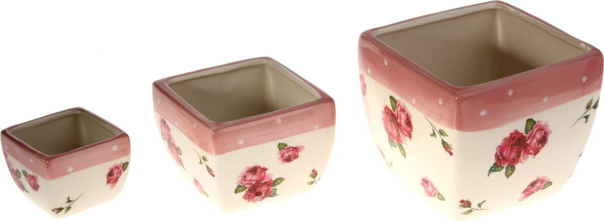 Набор кашпо Розы, 3 предмета80663Размеры: 7 х 6 см, 11 х 9 см, 14 х 12 см. Комнатные растения — всеобщие любимцы. Они радуют глаз, насыщают помещение кислородом и украшают пространство. Каждому из растений необходим свой удобный и красивый дом.Кашпо из керамики прекрасно подходят для высадки растений:за счёт пластичности глины и разных способов обработки существует великое множество форм и дизайновпористый материал позволяет испаряться лишней влагевоздух, необходимый для дыхания корней, проникает сквозь керамические стенки.Набор кашпо 3 шт. Розы позаботится о зелёном питомце, освежит интерьер и подчеркнёт его стиль. Добавьте помещению уют.