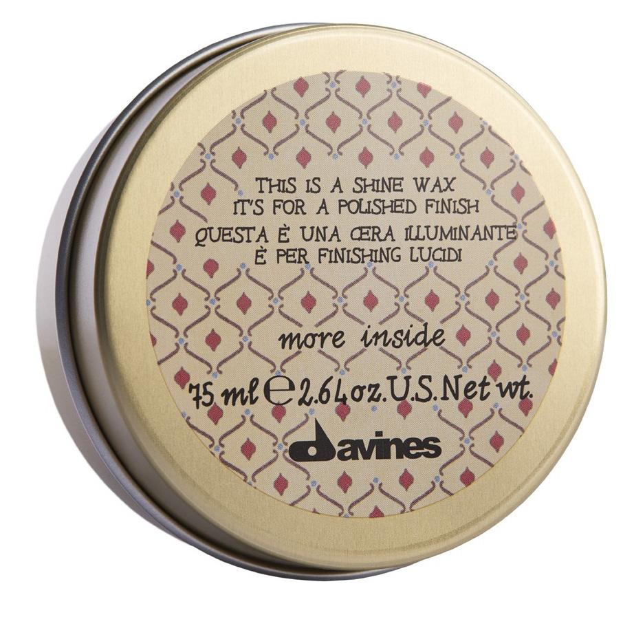 Davines More Shine Wax Воск-блеск для глянцевого финиша, 75 млSatin Hair 7 BR730MNЛегкая формула воска создает текстуру и придает блеск волосам. Позволяет перечесывать укладку. Обладает легкой степенью фиксации.Объем: 75 мл