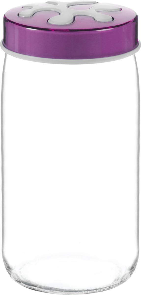Банка для сыпучих продуктов Herevin, цвет: фиолетовый, прозрачный, 1 л. 135377-000DFS-524Банка для сыпучих продуктов Herevin выполнена из высококачественного прочного стекла. Изделие снабжено плотно закручивающейся пластиковой крышкой с рисунком. Прозрачные стенки позволяют видеть содержимое. Такая банка отлично подойдет для хранения различных сыпучих продуктов: ягод, орехов, чая, кофе, специй. Диаметр банки: 9 см. Высота банки: 19 см.