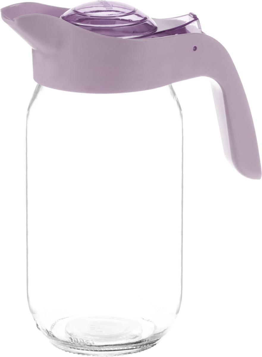 Кувшин Herevin, цвет: сиреневый, прозрачный, 1 лVT-1520(SR)Кувшин Herevin, выполненный из высококачественного прочного стекла, элегантно украсит ваш стол. Кувшин оснащен удобной пластиковой ручкой и откидной крышкой. Форма носика обеспечивает наливание жидкости без расплескивания. Крышка легко откручивается, что позволяет без труда наполнить емкость. Изделие прекрасно подойдет для подачи воды, сока, компота и других напитков.Диаметр (по верхнему краю): 8,5 см.Высота кувшина: 21 см.