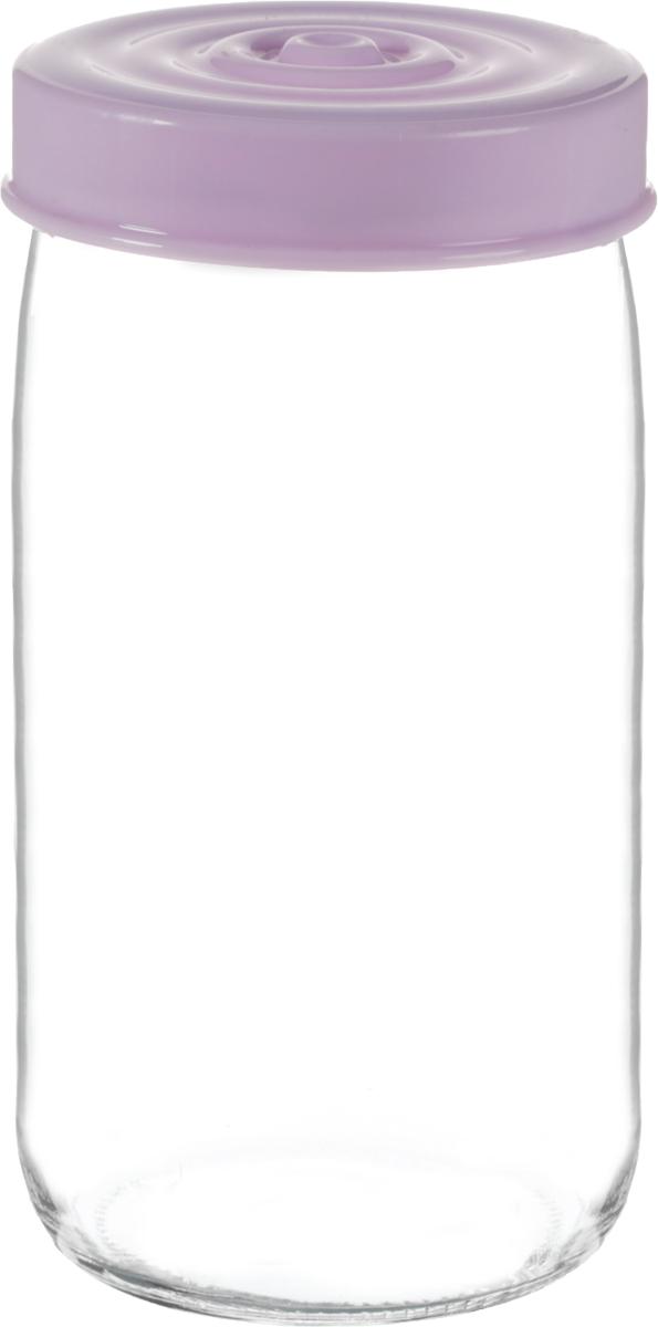 Банка для сыпучих продуктов Herevin, цвет: сиреневый, прозрачный, 1 л. 140377-500FD 992Банка для сыпучих продуктов Herevin выполнена из высококачественного прочного стекла. Изделие снабжено плотно закручивающейся пластиковой крышкой с рельефом. Прозрачные стенки позволяют видеть содержимое. Такая банка отлично подойдет для хранения различных сыпучих продуктов: орехов, сухофруктов, чая, кофе, специй. Диаметр банки: 8,5 см. Высота банки: 18 см.