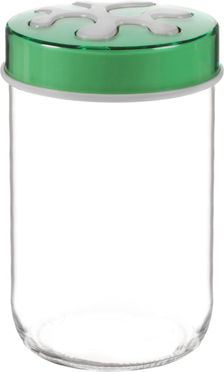 Банка для сыпучих продуктов Herevin, цвет: зеленый, прозрачный, 660 мл. 135367-500VT-1520(SR)Банка для сыпучих продуктов Herevin выполнена из высококачественного прочного стекла. Изделие снабжено плотно закручивающейся пластиковой крышкой с рисунком. Прозрачные стенки позволяют видеть содержимое. Такая банка отлично подойдет для хранения различных сыпучих продуктов: орехов, сухофруктов, чая, кофе, специй. Диаметр банки: 9 см. Высота банки: 14 см.