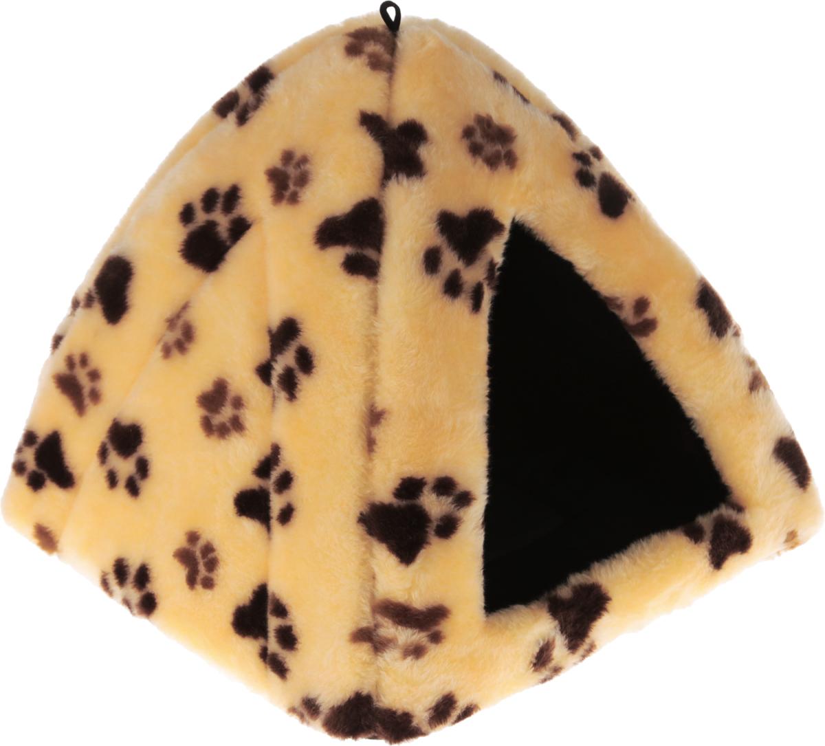Домик для животных Elite Valley Вигвам, цвет: персиковый, коричневый, бежевый, 40 х 40 х 37 см0120710Домик для животных Elite Valley Вигвам непременно станет любимым местом отдыха вашего домашнего животного. Предназначен для собак мелких пород и кошек. Изделие выполнено из искусственного меха с принтом в виде следов от лапок. Внутри - мягкий и упругий поролоновый наполнитель, который прекрасно держит форму и не теряет ее долгое время. В таком домике вашему любимцу будет мягко и тепло. Он подарит вашему питомцу ощущение уюта и уединенности.