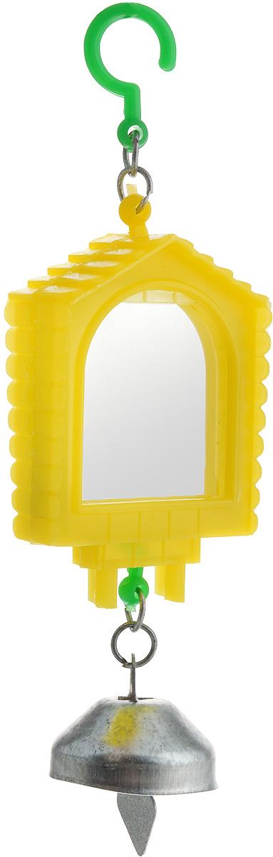 Зеркало для птиц Каскад, двойное515Оригинальное зеркало для птиц Каскад изготовлено из качественного пластика. Зеркало выполнено с двух сторон и крепится оно на крючок в любое удобное место. Низ модели дополнен небольшим звонким колокольчиком.Такая игрушка порадует как самих животных, так и их хозяев. Размеры игрушки: 13,5 x 4,5 x 2 см.