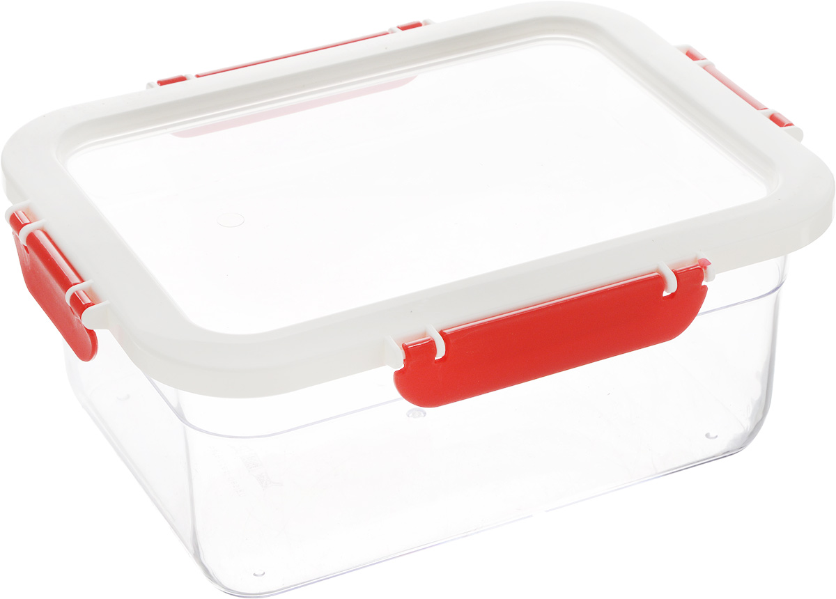 Контейнер для продуктов Herevin, цвет: красный, белый, 2,2 лАксион Т-33Контейнер Pasabahce, изготовленный из высококачественного пластика, предназначен для хранения любых продуктов. Крышка выполнена полностью из пластика, она герметично защелкивается специальным механизмом. Изделие устойчиво к воздействию масел и жиров, легко моется. Прозрачные стенки позволяют видеть содержимое.Контейнер удобен для ежедневного использования в быту. Размер контейнера (по верхнему краю): 21,5 х 16 см.Высота контейнера (без учета крышки): 8,5 см.