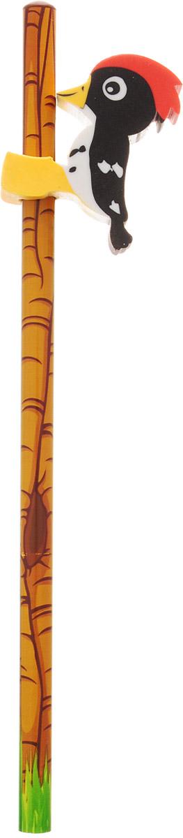 Brunnen Карандаш чернографитный Дятел с ластиком цвет коричневый черный112449Чернографитный карандаш Brunnen Дятел будет незаменим и для деток, которые только начинают рисовать, и для школьников. Его стильный круглый корпус сделан из натурального дерева с блестящим покрытием. Сверху имеется оригинальный ластик в виде дятла. Карандаш имеет очень прочный грифель самого высокого качества, который не крошится и не ломается при заточке. Такой забавный письменный аксессуар идеально лежит в руке и подарит массу удовольствия во время письма или рисования.