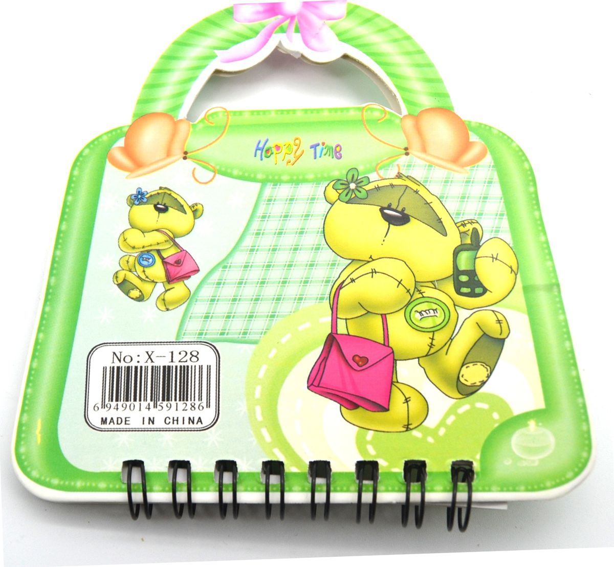Карамба Блокнот Мишка на сумочке 50 листов в линейку цвет зеленый507036Блокнот Карамба Мишка на сумочке с объемным изображением мишки на лицевой стороне выполнен в виде сумочки с ручками. Блокнот содержит 50 листов в линейку. Листики окрашены в голубой и зеленый цвета. На каждом листочке изображен мишка.