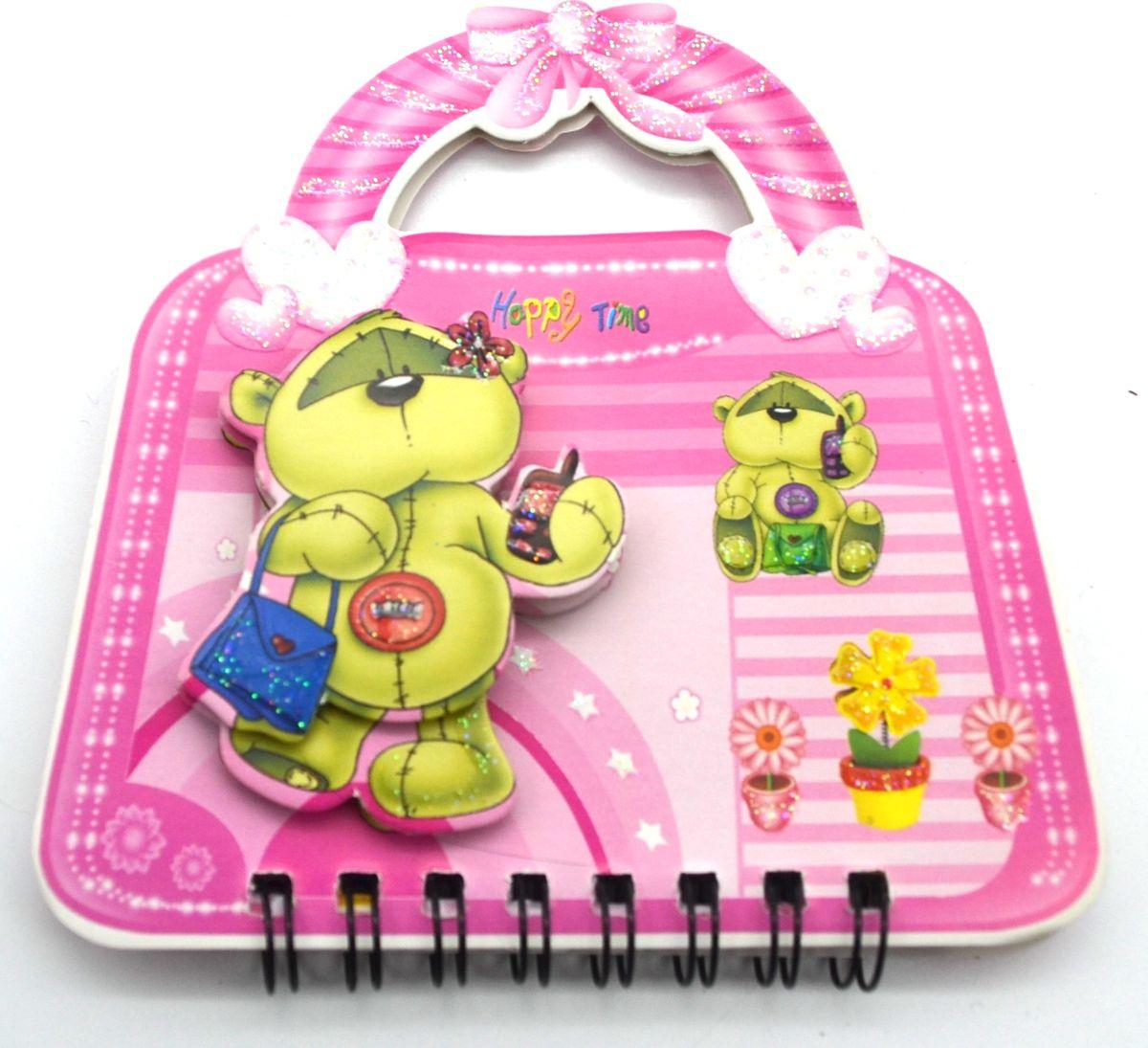 Карамба Блокнот Мишка на сумочке 50 листов в линейку цвет розовый 357172523WDБлокнот Карамба Мишка на сумочке с объемным изображением мишки на лицевой стороне выполнен в виде сумочки с ручками. Блокнот содержит 50 листов в линейку. Листики окрашены в голубой и зеленый цвета. На каждом листочке изображен мишка.