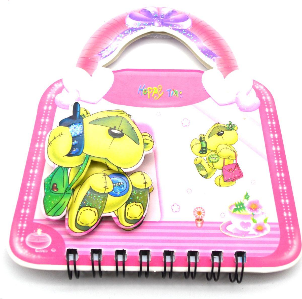 Карамба Блокнот Мишка на сумочке 50 листов в линейку цвет розовый 357272523WDБлокнот с объемным изображением мишки на лицевой стороне выполнен в виде сумочки с ручками (50 листов). Листики окрашены в голубой и зеленый цвета. На каждом листочке изображен мишка