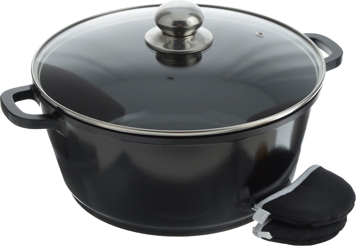 Кастрюля Bohmann с крышкой, с керамическим покрытием, цвет: черный, стальной, 5,5 л2801208Кастрюля Bohmann изготовлена из алюминия с высококачественным внутренним керамическим покрытием. Такое покрытие прекрасно подходит для приготовления супов, жарки, пассировки и тушения, в посуде можно приготовить разнообразные блюда из мяса, рыбы, птицы и овощей практически не используя масло. Готовое блюдо получится не только вкусным, но и полезным. Кастрюля оснащена алюминиевыми ручками, которые дополнены текстильными чехлами-прихватками для защиты от ожогов. Крышка из жаропрочного стекла со стальным ободом дополнена отверстием для выпуска пара.Можно использовать на газовых, электрических, галогеновых и индукционных плитах. Можно мыть в посудомоечной машине. Диаметр кастрюли: 28 см.Высота стенки: 12,5 см. Толщина дна: 8 мм.Ширина с учетом ручек: 36 см.