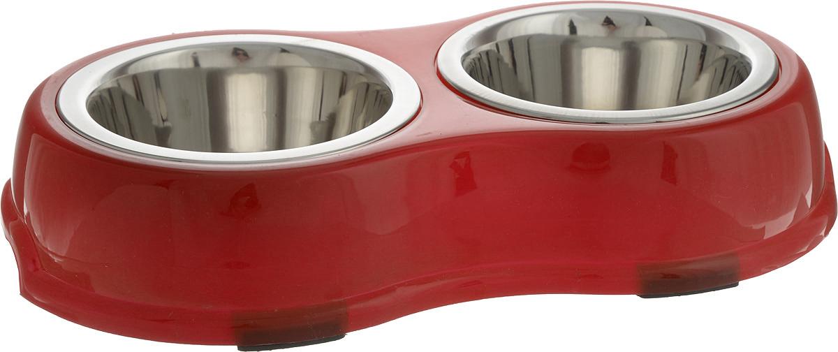 Миска для животных Каскад, двойная, на подставке, цвет: красный, стальной, 350 мл0120710Двойная миска Каскад - это функциональный аксессуар для собак, кошек. Изделие состоит из двух мисок, выполненных из высококачественной нержавеющей стали. Миски размещены на пластиковой подставке, оснащенной противоскользящими вставками. Яркий дизайн придаст изделию индивидуальность и удовлетворит вкус самых взыскательных зоовладельцев.Объем одной миски: 350 мл. Диаметр одной миски (по верхнему краю): 13 см. Высота одной миски: 5 см. Размер подставки: 32 х 19 х 6,5 см.