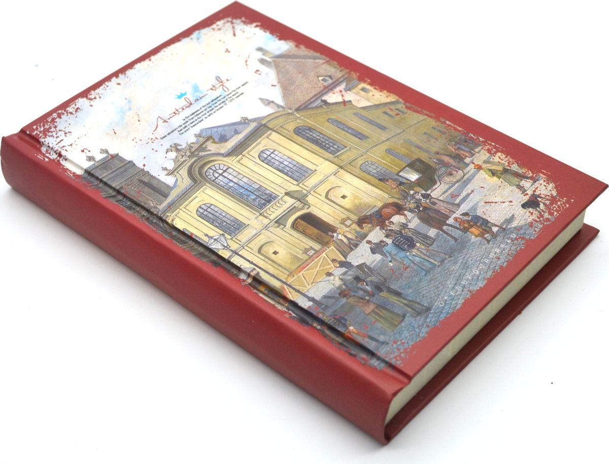 Карамба Блокнот Рисованный город красная кайма 160 листов в линейку72523WDБлокнот с рисованным городом и я яркой каймой