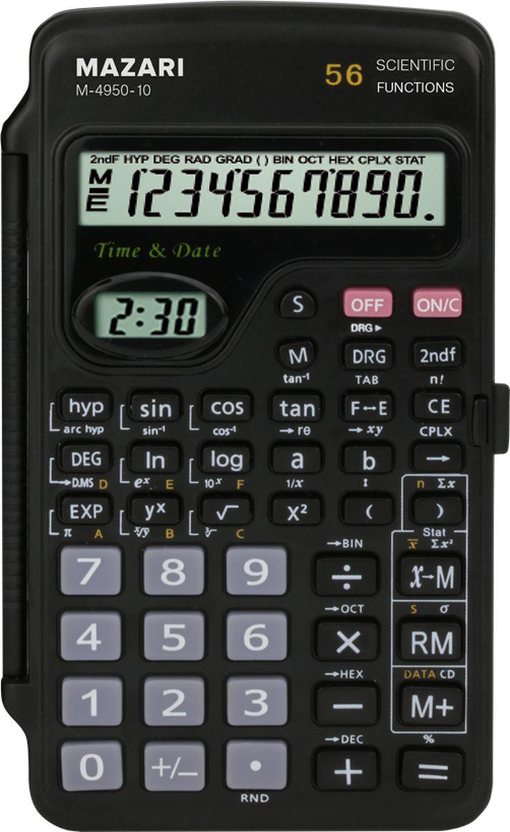 Настольный калькулятор Mazari М-4950-10AC-1121RDКалькулятор научный, 10 разрядов, 56 функций, питание от батарейки, пластиковый корпус-книжка, 126х72х11 мм