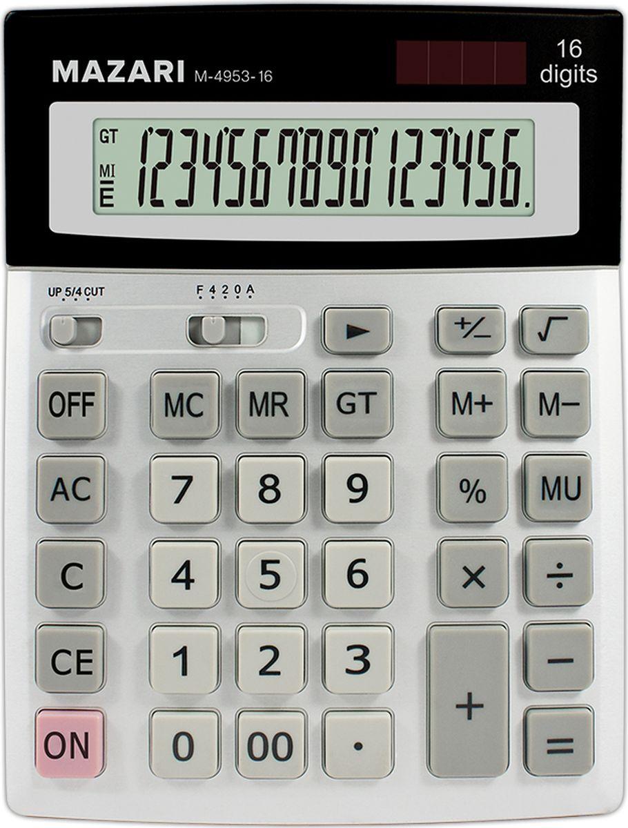 Настольный калькулятор Mazari М-4953-16AC-2233_серыйКалькулятор настольный, 16 разрядов, 2 типа питания, вычисление наценки+общий итог, пластиковый корпус с алюминиевой пластиной, 206х155х27 мм